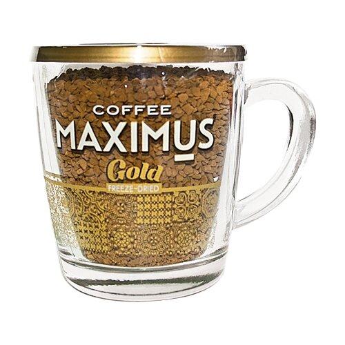 maximus nero кофе растворимый в стеклянной кружке 70 г Кофе растворимый Maximus Gold сублимированный, стеклянная кружка, 70 г