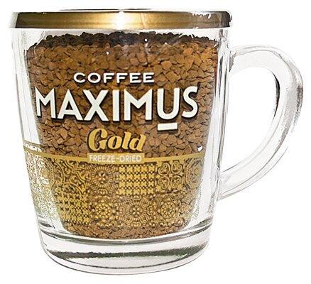 Кофе растворимый Maximus Gold сублимированный, стеклянная кружка