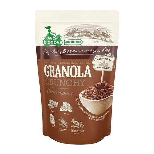 Гранола BIONOVA шоколадные хлопья, дой-пак, 400 г гранола verestovo хлопья банан малина воздушные шоколадные шарики дой пак 300 г