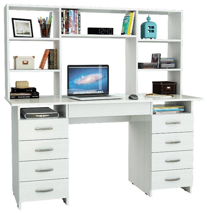 Компьютерный стол МФ Мастер Милан-10Я с ящиком и надстройкой фото 1