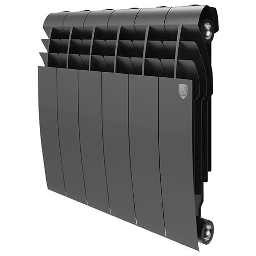 Радиатор секционный биметаллический Royal Thermo Biliner 350 x6 теплоотдача 690 Вт, подключение универсальное боковое Noir Sable биметаллический радиатор rifar рифар b 500 нп 10 сек лев кол во секций 10 мощность вт 2040 подключение левое
