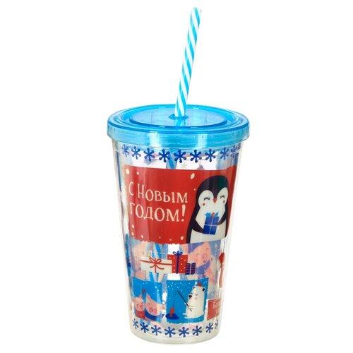 Тамблер Зимнее волшебство Счастливых моментов, 0.45 л синий