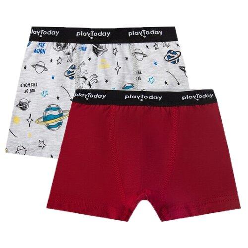 Купить Трусы playToday 2 шт., размер 110-116, красный/серый, Белье и пляжная мода