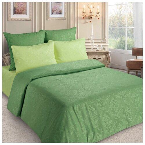 Постельное белье 2-спальное Letto PS133, полисатин, 70 х 70 см зеленый