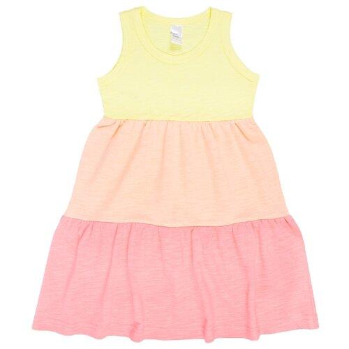 Платье Веселый Малыш размер 110, желтый/персиковый/розовый