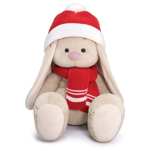 Фото - Мягкая игрушка Зайка Ми большой в шапке и шарфе 34 см мягкая игрушка зайка ми в лиловом 23 см