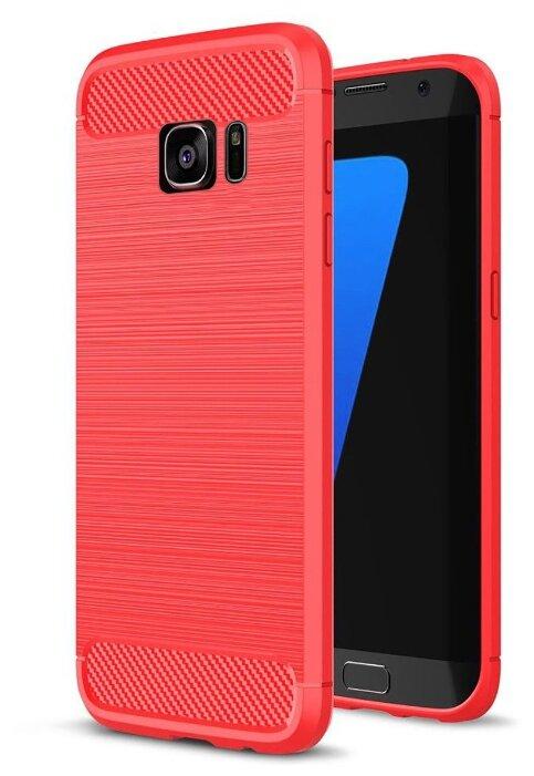Купить Чехол для телефона. Samsung Galaxy S7. Силиконовый. Carbon Design. Красный. по низкой цене с доставкой из Яндекс.Маркета
