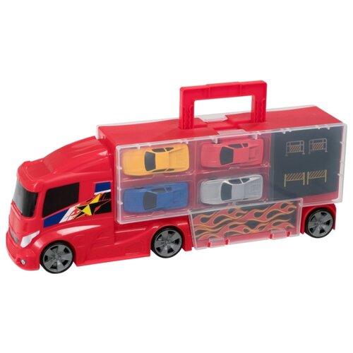Купить Игровой набор для детей Teamsterz «Автоперевозчик с 4 машинками», HTI, Детские парковки и гаражи