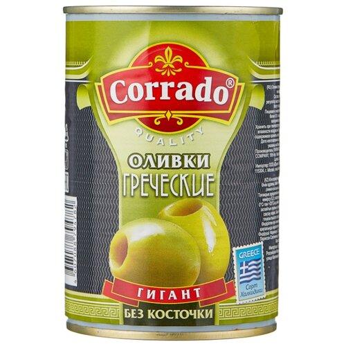 Corrado Оливки греческие гигант без косточки в рассоле, жестяная банка 420 г corrado маслины крупные отборные без косточки 300 г