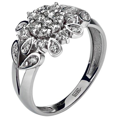 Эстет Кольцо с 23 бриллиантами из белого золота 750 пробы 01К673168Z, размер 17.5 фото