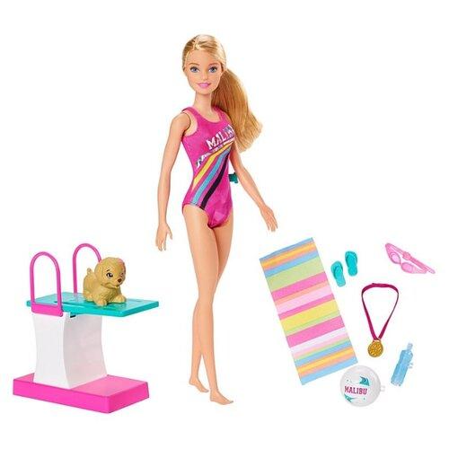 Купить Игровой набор Barbie Dreamhouse Adventures Swim 'n Dive Чемпион по плаванию, 29 см, GHK23, Куклы и пупсы