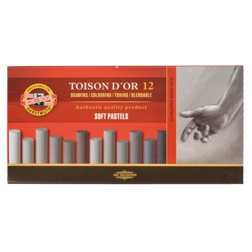 Купить KOH-I-NOOR Пастель сухая серые тона Toison D'or 12 цветов, Пастель и мелки