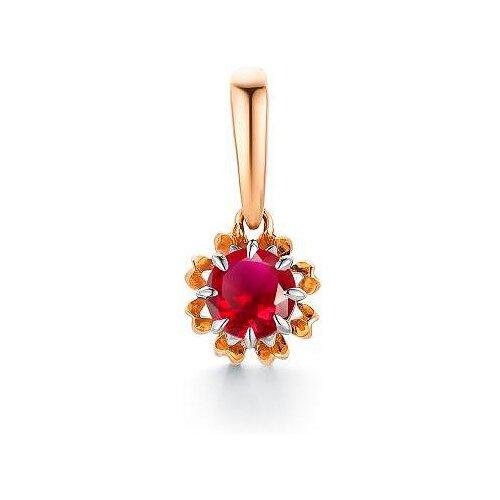 АЛЬКОР Подвеска с 1 рубином из красного золота 33185-103