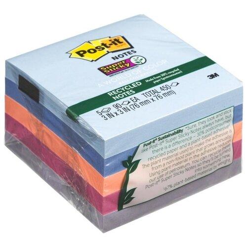 Купить Post-it Блок-кубик Super Sticky, 76 х 76 мм, 5 блоков по 90 листов (654-5SSNRP) синий/фиолетовый/розовый, Бумага для заметок