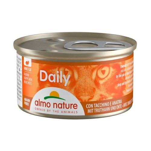 Фото - Корм для кошек Almo Nature Daily Menu с индейкой, с уткой 85 г консервы для кошек almo nature нежный мусс с уткой 85 г