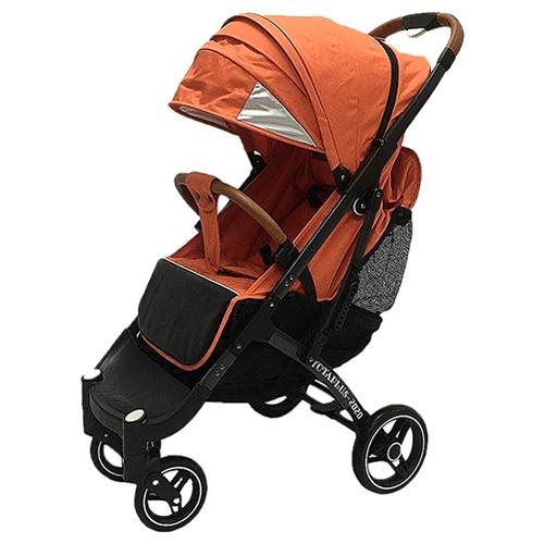 Купить Прогулочная коляска Yoya Plus Pro Max 2020 (дожд., москит., подстак., бампер, сумка-чехол, корзина д/покупок, ремешок на руку, накидка на ножки на молнии, бамб. коврик) оранжевый/серая рама, цвет шасси: серый, Коляски