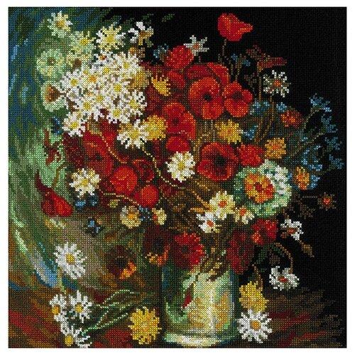 Купить Риолис Набор для вышивания Ваза с маками, васильками и хризантемами 30 х 30 см (1591), Наборы для вышивания