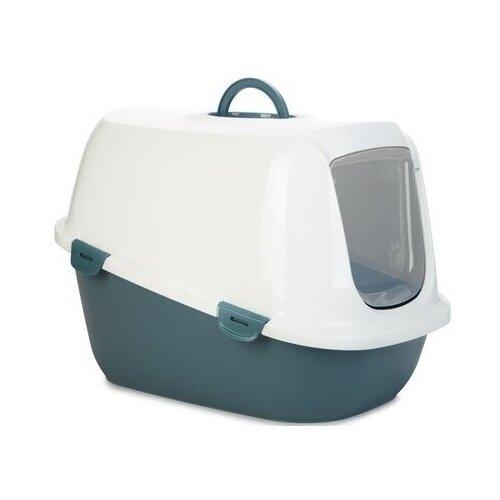 Туалет-домик для кошек SAVIC Leo 62х43х47 см белый/синий