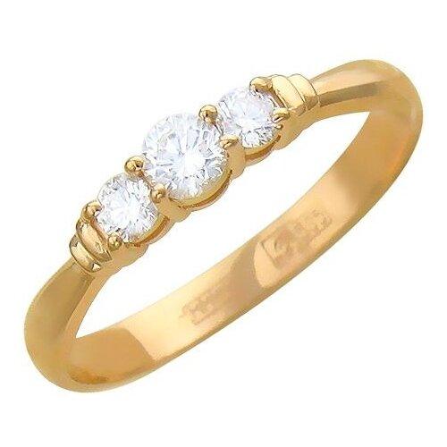 Эстет Кольцо с 3 бриллиантами из красного золота 01К615584, размер 18 фото