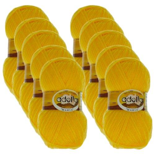 Купить Пряжа Adelia Maria, 100 % акрил, 50 г, 227 м, 10 шт., №03 желтый