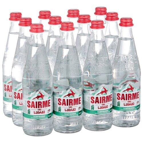 Вода минеральная лечебно-столовая Sairme газированная, стекло, 12 шт. по 0.5 л вода минеральная природная питьевая лечебно столовая липецкая газированная стекло 12 шт по 0 5 л