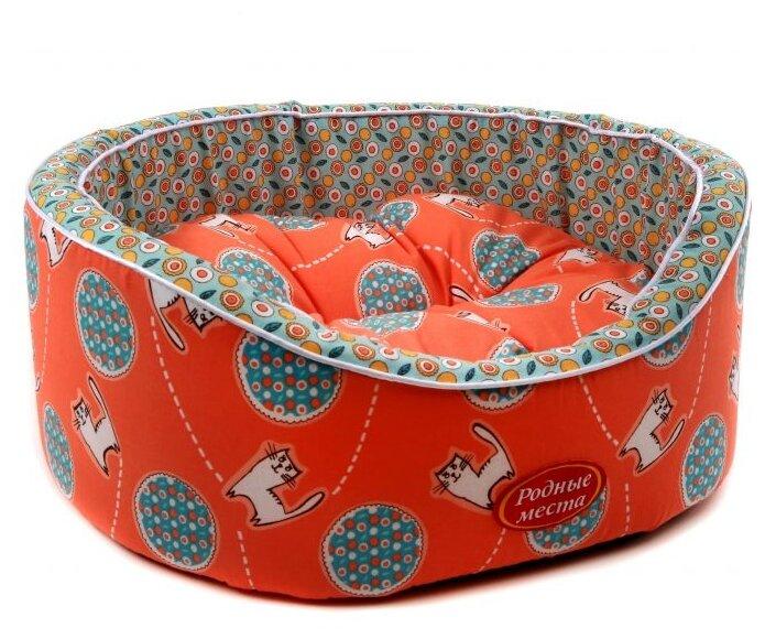 Лежак для кошек, для собак Родные места Премиум №1 Кот Персик 43х38х15 см
