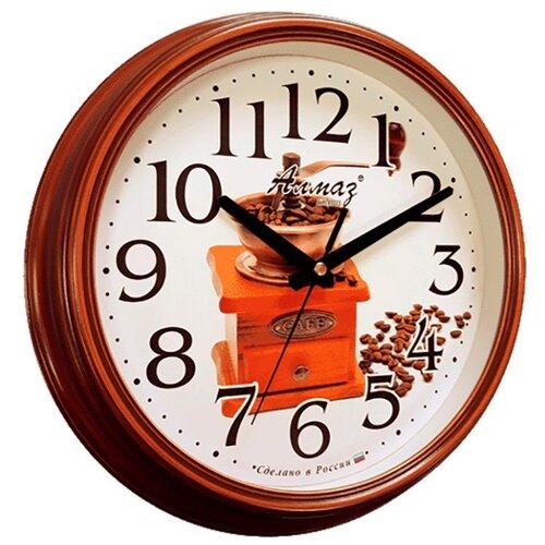 Часы настенные кварцевые Алмаз A22 коричневый/белый часы настенные кварцевые алмаз c51 c54 коричневый белый