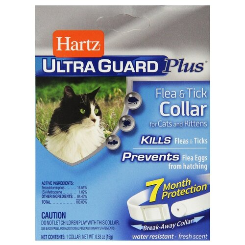Hartz ошейник от блох и клещей Ultra Guard Plus для кошек и котят, белый ошейник для кошек beaphar от блох и клещей 35см