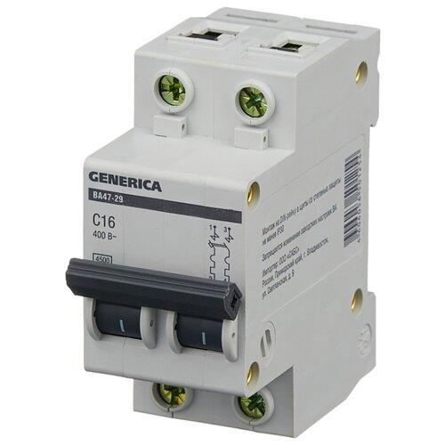 Автоматический выключатель IEK ВА 47-29 GENERICA 2P (C) 4,5kA 16 А автомат iek 1п c 16а ва 47 100