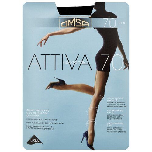 Колготки Omsa Attiva 70 den, размер 2-S, nero (черный) колготки omsa attiva 20 den размер 2 s nero черный