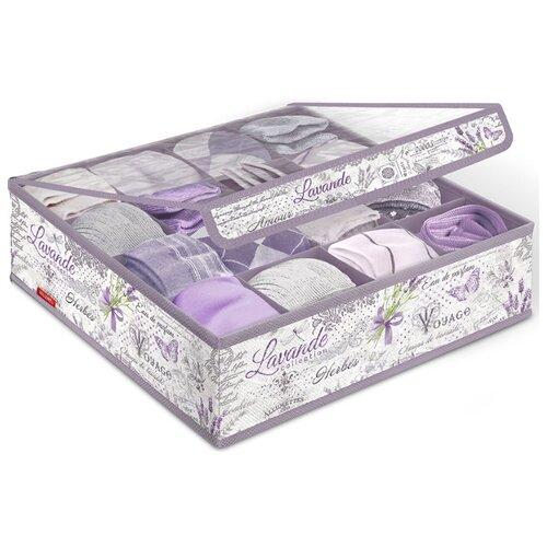 Valiant Органайзер для белья и носков с прозрачной крышкой S16 белый/фиолетовый valiant органайзер подвесной для сумок lavande lv hb5 бежевый фиолетовый