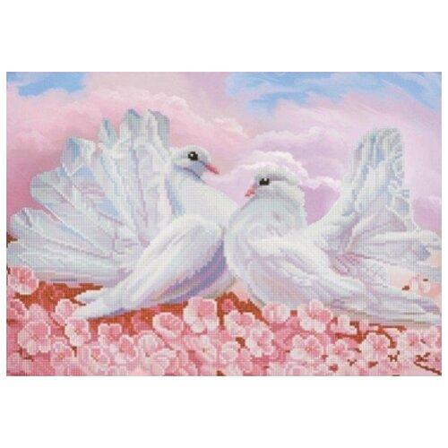 Любовь и голуби (рис. на сатене 29х39) 29х39 Конек 1279, Конёк, Канва  - купить со скидкой