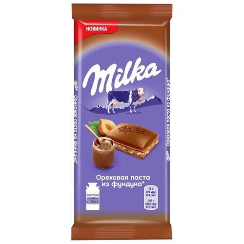 Шоколад Milka молочный с начинкой Ореховая паста из фундука, 90 г король орех паста крем ореховая из фундука 200 г