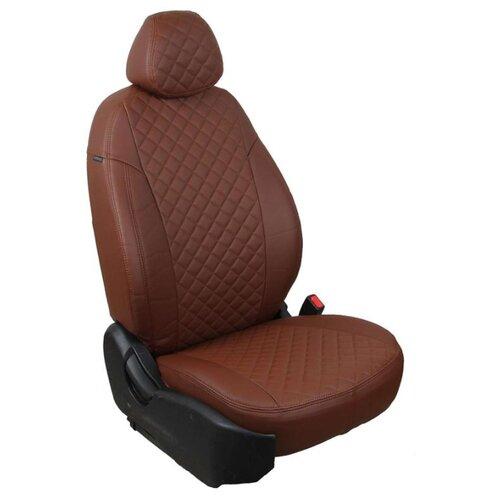 Комплект чехлов АВТОПИЛОТ из экокожи для Hyundai Solaris седан/Kia Rio седан, ромб темно-коричневый