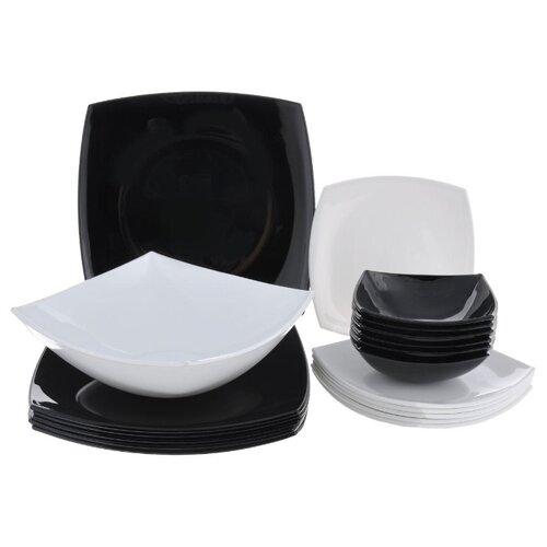 Столовый сервиз Luminarc Quadrato Mix 19 предметов белый/черный сервиз обеденный luminarc garden marvella 19 предметов