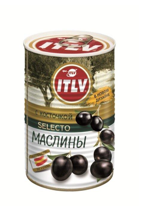 ITLV Маслины черные с косточкой, 425 мл