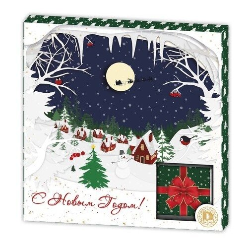 Шоколад Дилан+ Новый год Деревня темный шоколад порционный, 80 г (10 шт.)