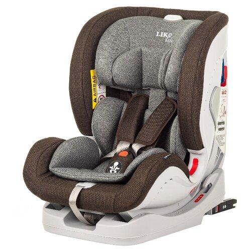 Купить Автокресло группа 0/1/2/3 (до 36 кг) Liko Baby Sprinter Isofix, темно-коричневый в точку, Автокресла