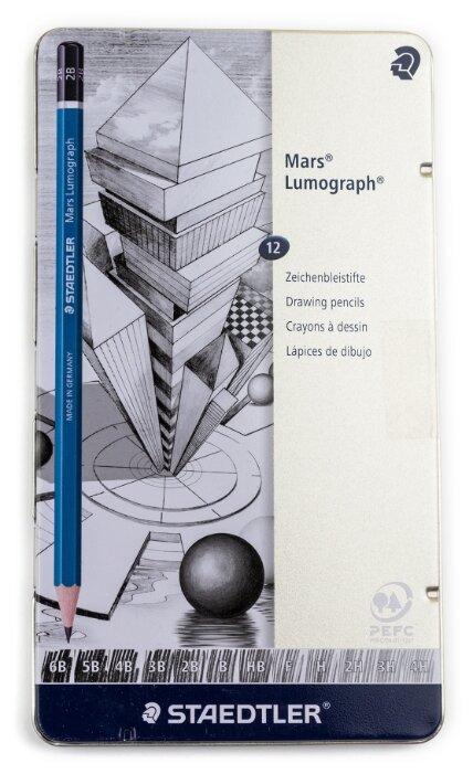 Staedtler набор карандашей чернографитных Mars Lumograph 12 штук (100 G12)