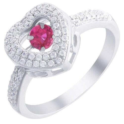 ELEMENT47 Кольцо из серебра 925 пробы с кубическим цирконием и рубинами выращенными SR03236B_KO_RUS_001_WG, размер 18