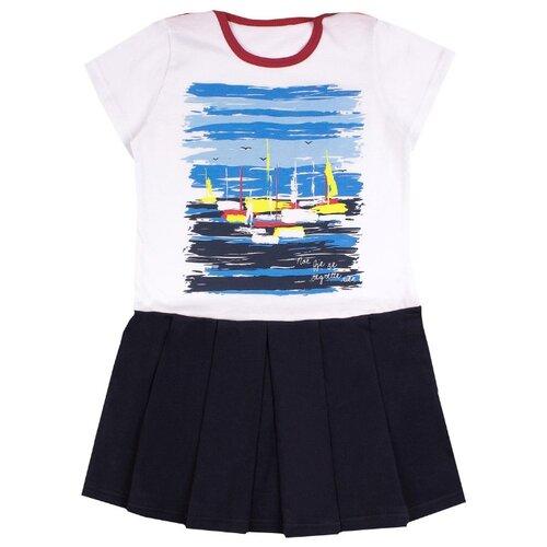 Платье Апрель размер 92-50, темно-синий, белый платье для девочки lucky child романтик цвет белый красный темно синий 18 61 размер 86 92 2 года