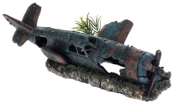 Декор грот для аквариума Самолет, 26 х 13 х 7 см, BARBUS, Decor 045 (1 шт)