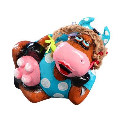 Копилка Хорошие сувениры Символ года: Корова лежачая, гипс (1023914) коричневый/голубой