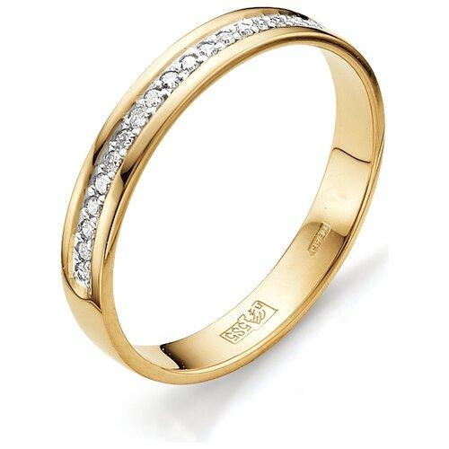АЛЬКОР Кольцо с бриллиантами из красного золота 12015-100, размер 19 алькор кольцо с бриллиантами из белого золота 585 пробы 12015 200 размер 19 5