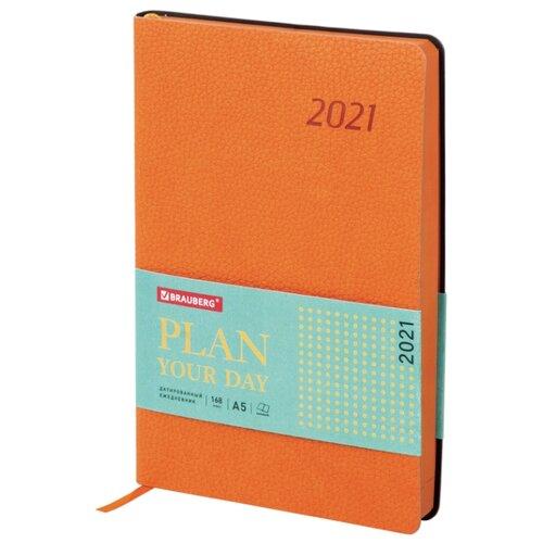 Купить Ежедневник BRAUBERG Stylish датированный на 2021 год, искусственная кожа, А5, 168 листов, оранжевый, Ежедневники, записные книжки