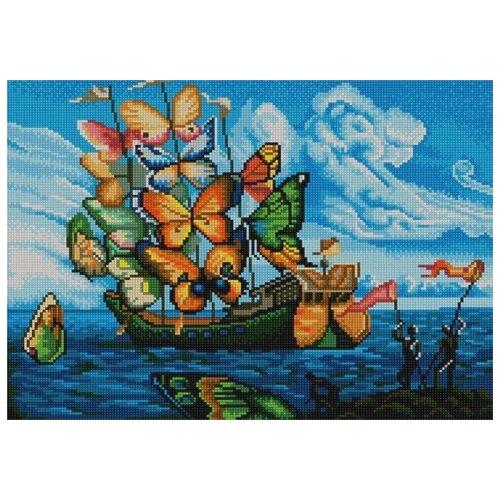 Купить Бабочка-корабль (рис. на сатене 29х39) 29х39 Конек 9955, Конёк, Канва