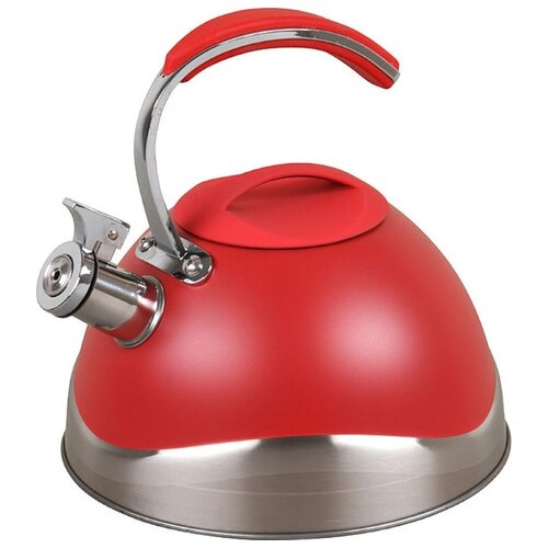 Pomi d'Oro Чайник со свистком PSS-6500/19/20/21 3 л, серебристый/красный кастрюля pomi d oro facilita pss 595252 2 5 л стальной
