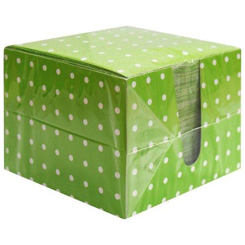 Салфетки Перышко 2 слоя, 85л/уп зеленые в горох в коробке, 2 уп