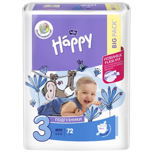 Купить Bella Baby happy подгузники fun 3 (5-9 кг) 72 шт., Подгузники
