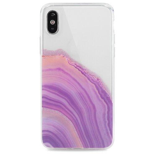 Силиконовый полупрозрачный чехол для (Эпл) iPhone X / XS / Pastila / Глянцевый с Блестками (Фиолетовый)